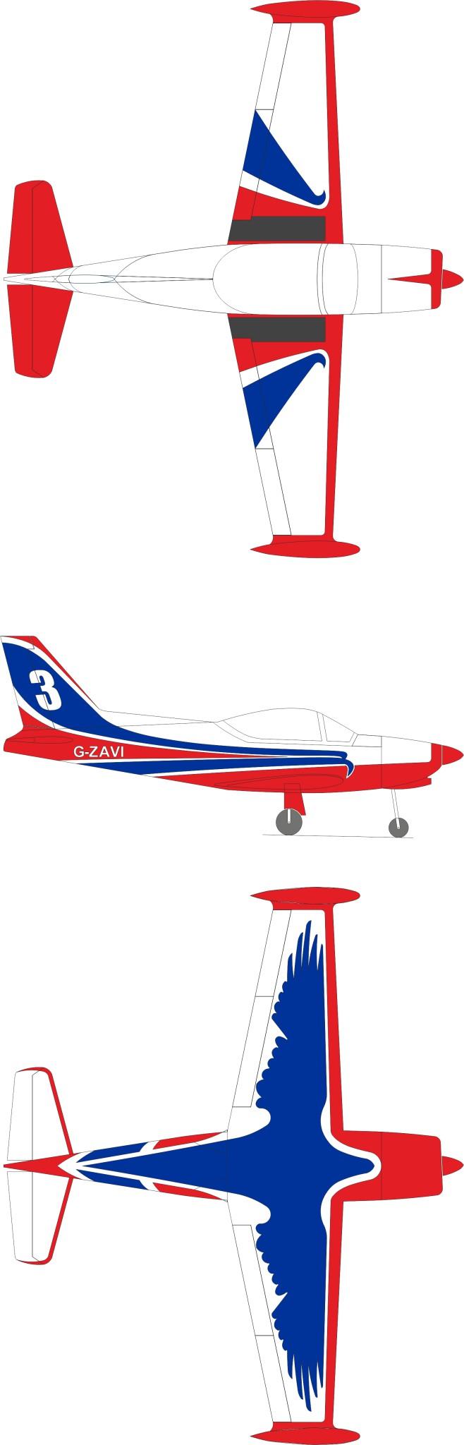 GB models SF-260 in weiss rot blau