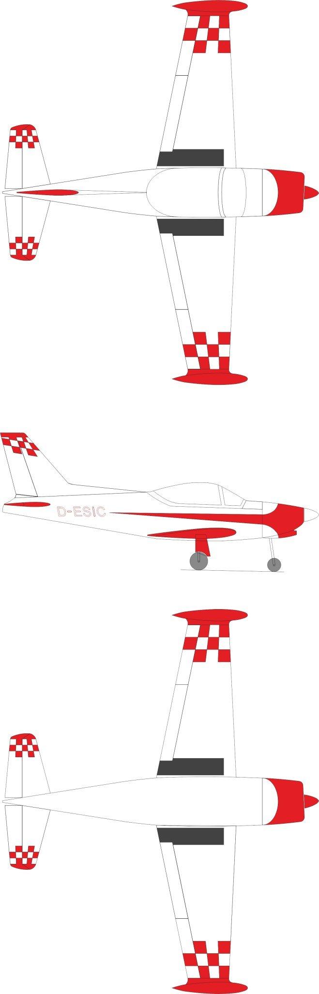 GB models SF-260 weiss mit roten Karos